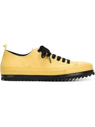 Ann Demeulemeester Rigid Sole Lace Up Sneakers Yellow And Orange