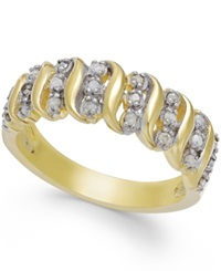 Victoria Townsend Rose Cut Diamond 'S' Ring In 18K Gold Over Sterling Silver 1 4 Ct. T.W.