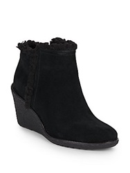 Cole Haan Michelle Faux Fur Trimmed Waterproof Suede Ankle Boots Black