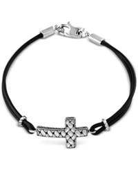 Effy Black Leather Cross Bracelet In Sterling Silver