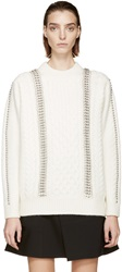 Alexander Wang Cream Oversized Embellished Cable Knit Sweater