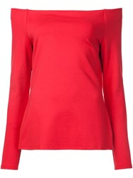 L'agence Off Shoulders Longsleeved Blouse Red