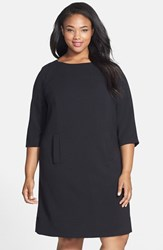 Plus Size Women's Eliza J Pocket Detail Shift Dress Black