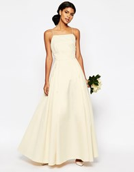 Asos Bridal Extreme Sateen Maxi Prom Dress Champagne White
