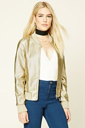 Forever 21 Metallic Faux Leather Jacket Gold