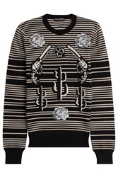 Dolce And Gabbana Striped Cashmere Pullover With Patches Stripes