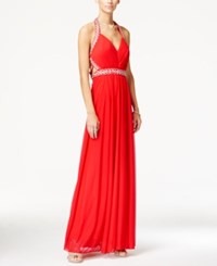 Sequin Hearts Juniors' Jeweled Ruched Halter Gown