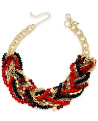Thalia Sodi Gold Tone Red And Jet Chain Link Statement Necklace Only At Macy's