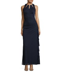Betsy And Adam Ruffled Cutout Gown Navy