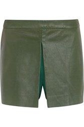 Raoul Leather Wool And Silk Blend Shorts Army Green