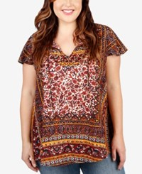 Lucky Brand Plus Size Printed Peasant Top Red Multi