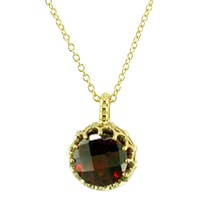London Road 9Ct Gold Chequer Cut Stone Pendant Garnet