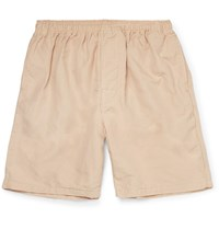 Beams Plus Slim Fit Cotton And Linen Blend Shorts Neutrals