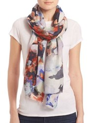 Bindya Fall Floral 2 Cashmere And Silk Scarf Blue