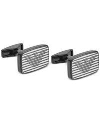 Emporio Armani Men's Gunmetal Stainless Steel Striped Logo Cuff Links Egs2179 Silver