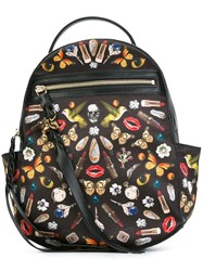 Alexander Mcqueen 'Obsession' Print Backpack Black