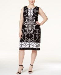 Jm Collection Woman Jm Collection Plus Size Printed Sheath Dress Only At Macy's Deep Black