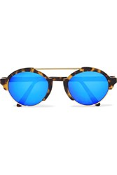 Illesteva Milan Iii Round Frame Acetate And Gold Tone Mirrored Sunglasses Tortoiseshell