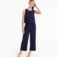 J.Crew Tall Silk Overlay Jumpsuit In Polka Dot