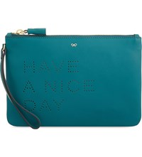 Anya Hindmarch Have A Nice Day Leather Pouch Viridian Circus