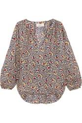 The Great Carousel Floral Print Silk Crepe Blouse Beige Blue