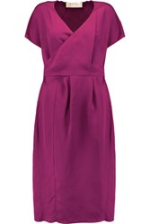 Marni Wrap Effect Faille Dress Magenta