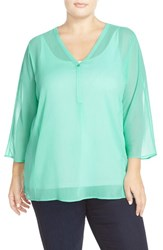Plus Size Women's Sejour Crinkled Chiffon V Neck Blouse Teal Ripple
