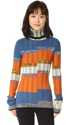Joseph Turtleneck Sweater Orange Blue