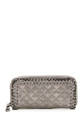 Steve Madden Quilted Chain Zip Around Wallet Metallic