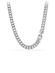 David Yurman Cable Buckle Chain Necklace With Diamonds Silver