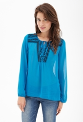 Forever 21 Sheer Embroidered Peasant Top