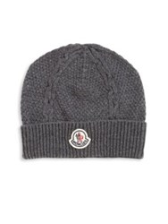 Moncler Woven Virgin Wool Beanie Grey