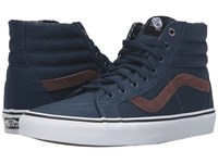 Vans Sk8 Hi Reissue Cord And Plaid Dress Blues True White Skate Shoes