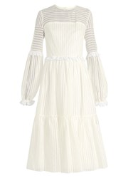 Anna October Striped Organdy Midi Dress White