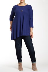Andrea Jovine Asymmetric Blouse Plus Size Blue