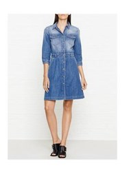 7 For All Mankind Long Sleeve Denim Dress Victoria Blue