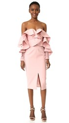 Talulah Alessa Off Shoulder Midi Dress Baby Pink