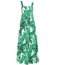 Dolce And Gabbana Printed Cotton Maxi Dress Green