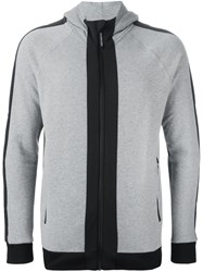 Hydrogen Panelled Zipped Hoodie Grey