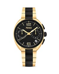 Fendi Momento Two Tone Stainless Steel Watch 40Mm Black Gold