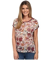 Vince Camuto Short Sleeve Lyrical Floral Mixed Media Tee Mauve Dust Women's T Shirt Gray