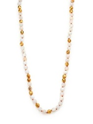 Chan Luu Mother Of Pearl And Opal Long Beaded Strand Necklace Gold White