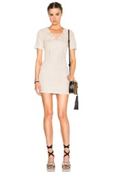 Theperfext Amber Short Sleeve Stretch Suede Lace Up Dress In Neutrals