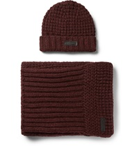 Belstaff Ardleigh Waffle Knit Hat And Scarf Set Burgundy