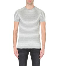 Allsaints Pavo Tonic Cotton Jersey T Shirt Grey White Lil
