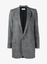 Saint Laurent Prince Of Wales Check Blazer Grey White Sunset Black