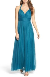 Wtoo Women's Deep V Neck Chiffon And Tulle Gown Teal