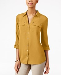 Charter Club Petite Utility Shirt Only At Macy's Honey Glaze