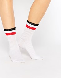 Monki Multi Stripe Ribbed Sock White And Red