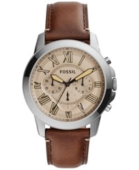 Fossil Men's Chronograph Grant Dark Brown Leather Strap Watch 44Mm Fs5214 Leather Band Cigar Color Dial